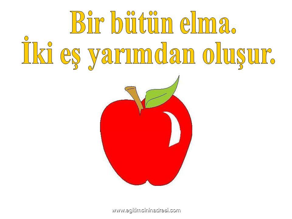 Bir bütün elma. İki eş yarımdan oluşur.