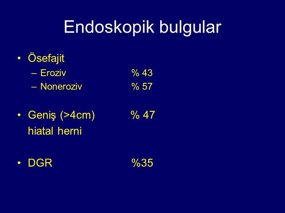 Endoskopik bulgular Ösefajit Geniş (>4cm) % 47 hiatal herni DGR %35
