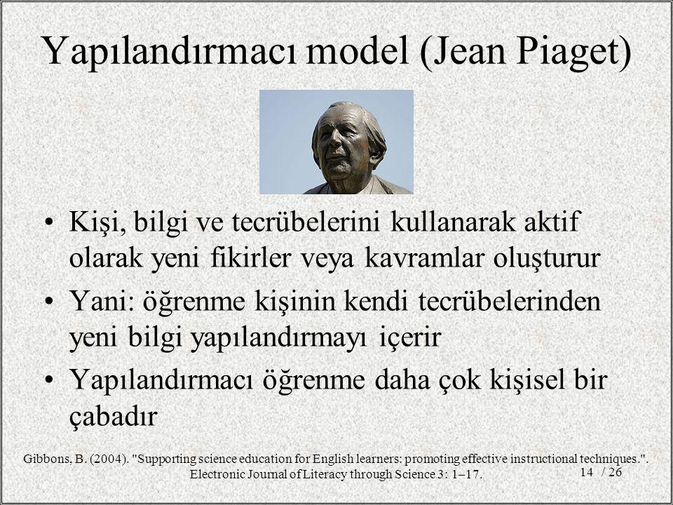 Yapılandırmacı model (Jean Piaget)