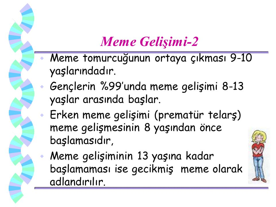 Meme Gelişimi-2 Meme tomurcuğunun ortaya çıkması 9-10 yaşlarındadır.