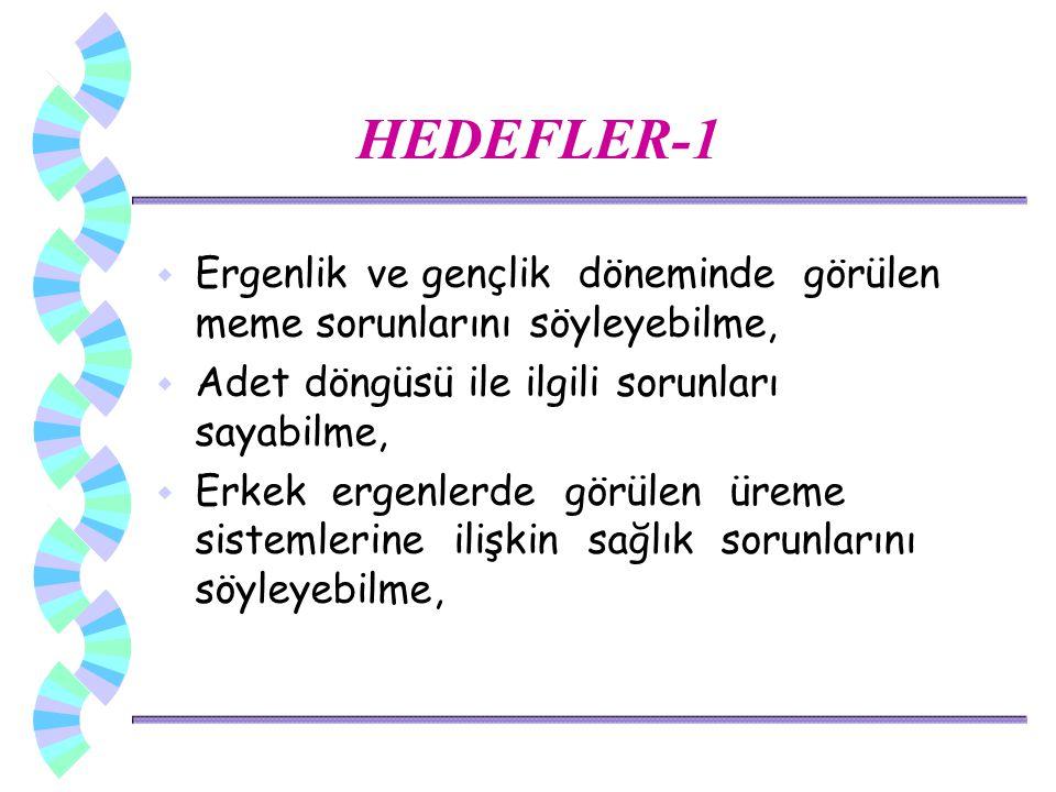 HEDEFLER-1 Ergenlik ve gençlik döneminde görülen meme sorunlarını söyleyebilme, Adet döngüsü ile ilgili sorunları sayabilme,