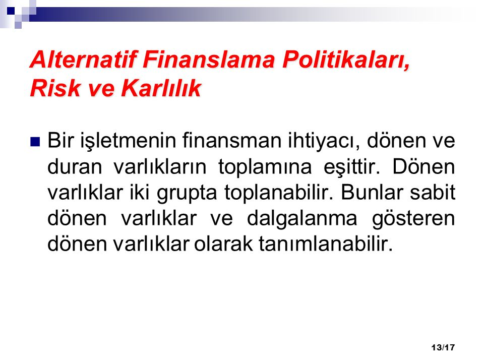 Alternatif Finanslama Politikaları, Risk ve Karlılık