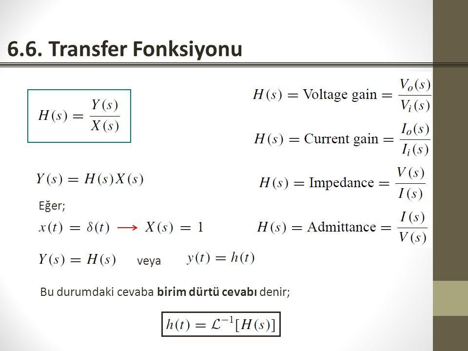 6.6. Transfer Fonksiyonu Eğer; veya
