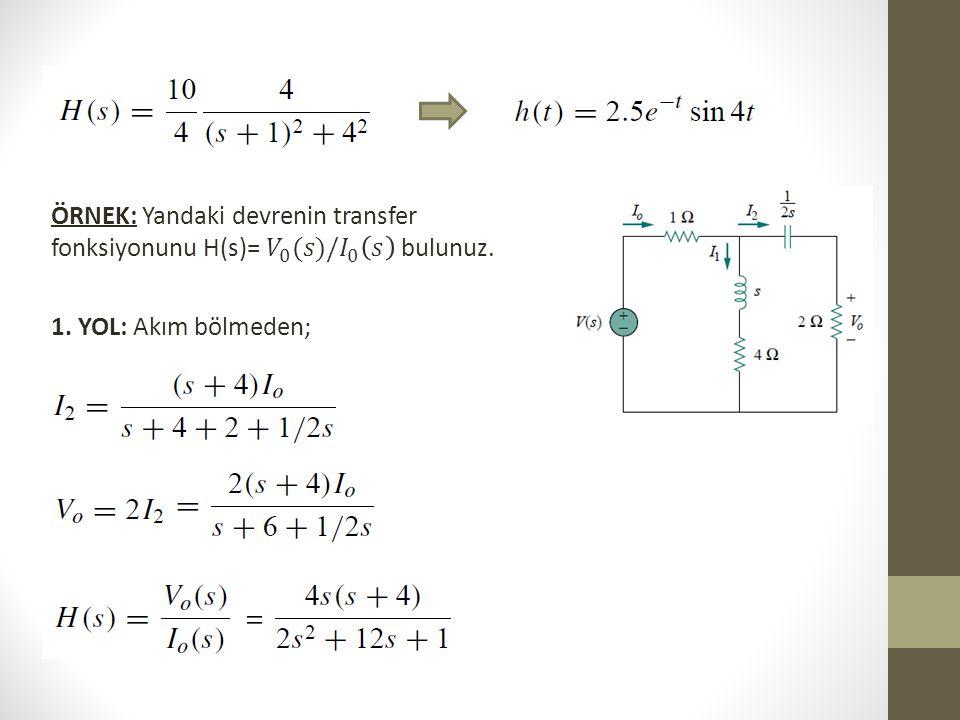 ÖRNEK: Yandaki devrenin transfer fonksiyonunu H(s)= 𝑉 0 (𝑠)/ 𝐼 0 𝑠 bulunuz.
