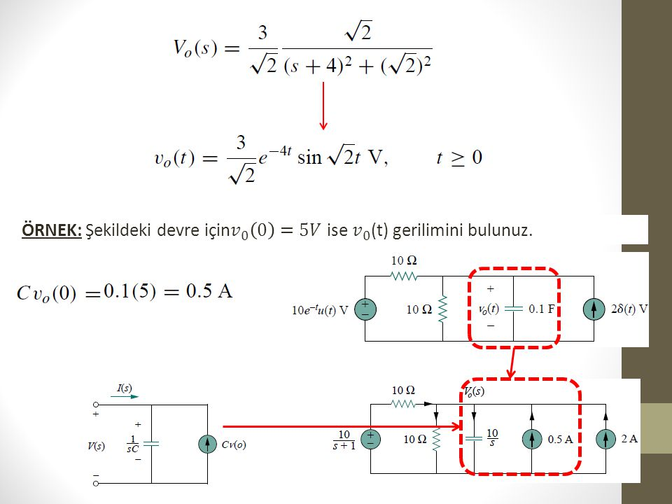 ÖRNEK: Şekildeki devre için 𝑣 0 0 =5𝑉 ise 𝑣 0 (t) gerilimini bulunuz.