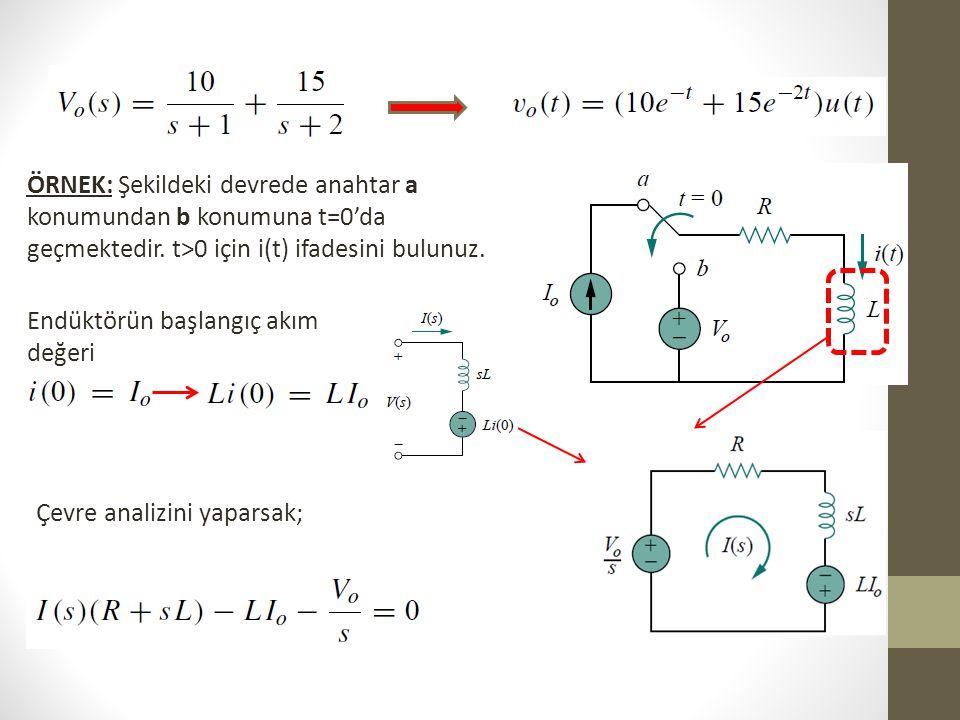 ÖRNEK: Şekildeki devrede anahtar a konumundan b konumuna t=0'da geçmektedir. t>0 için i(t) ifadesini bulunuz.