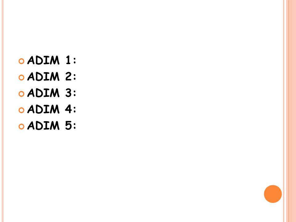 ADIM 1: ADIM 2: ADIM 3: ADIM 4: ADIM 5: