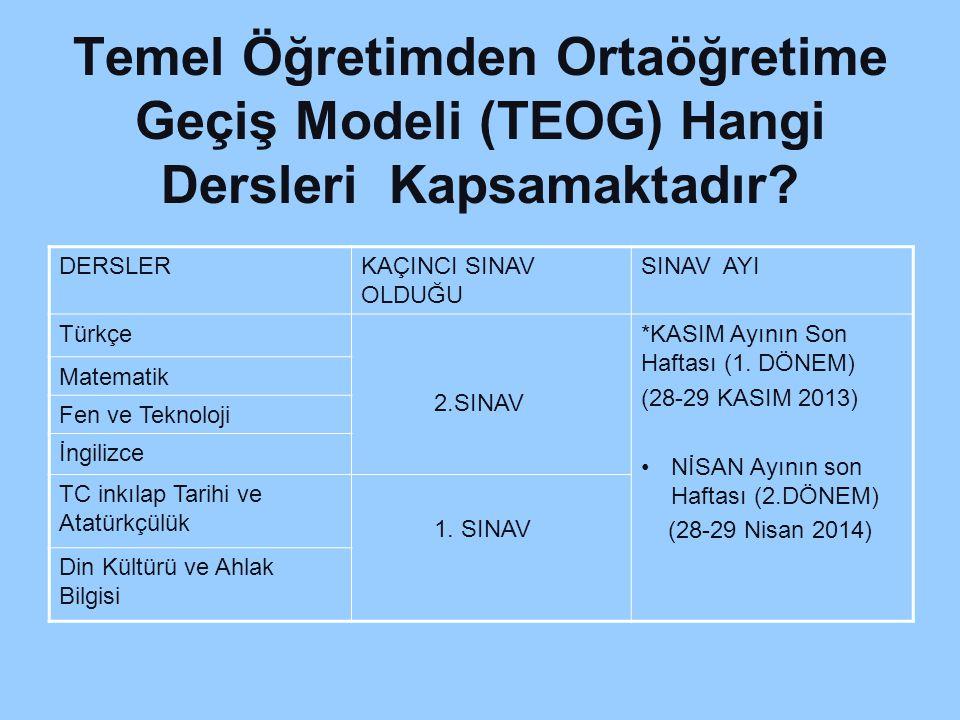 Temel Öğretimden Ortaöğretime Geçiş Modeli (TEOG) Hangi Dersleri Kapsamaktadır