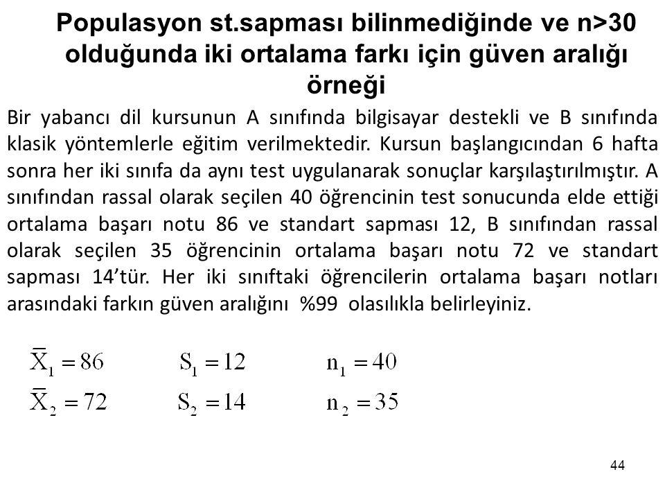 Populasyon st.sapması bilinmediğinde ve n>30 olduğunda iki ortalama farkı için güven aralığı örneği