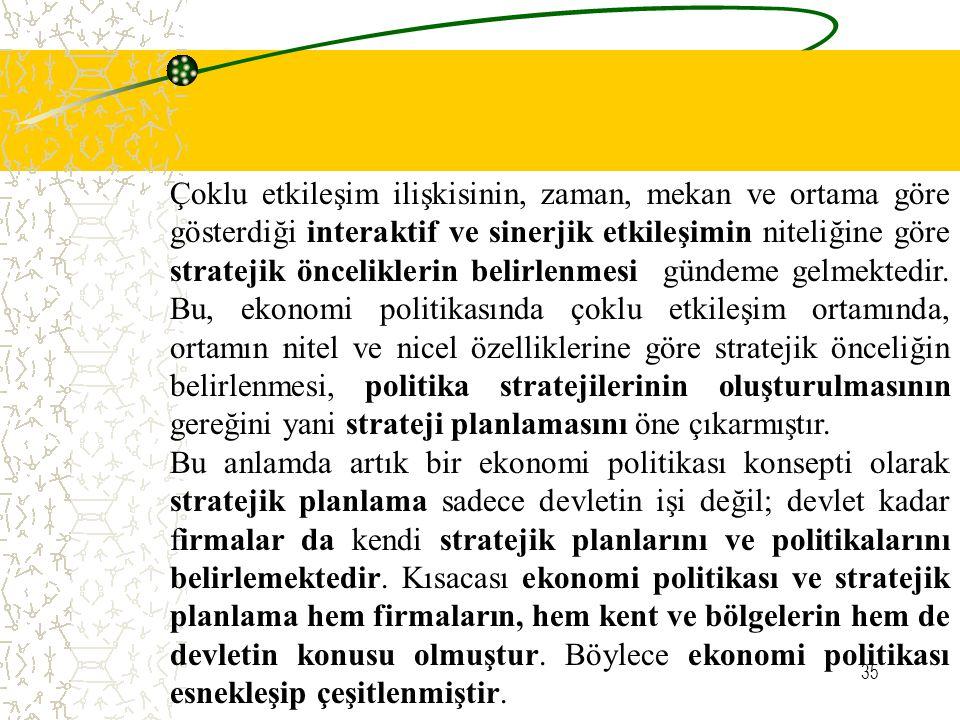 Çoklu etkileşim ilişkisinin, zaman, mekan ve ortama göre gösterdiği interaktif ve sinerjik etkileşimin niteliğine göre stratejik önceliklerin belirlenmesi gündeme gelmektedir. Bu, ekonomi politikasında çoklu etkileşim ortamında, ortamın nitel ve nicel özelliklerine göre stratejik önceliğin belirlenmesi, politika stratejilerinin oluşturulmasının gereğini yani strateji planlamasını öne çıkarmıştır.