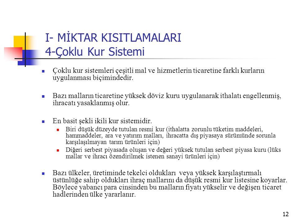 I- MİKTAR KISITLAMALARI 4-Çoklu Kur Sistemi
