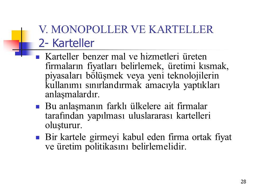 V. MONOPOLLER VE KARTELLER 2- Karteller