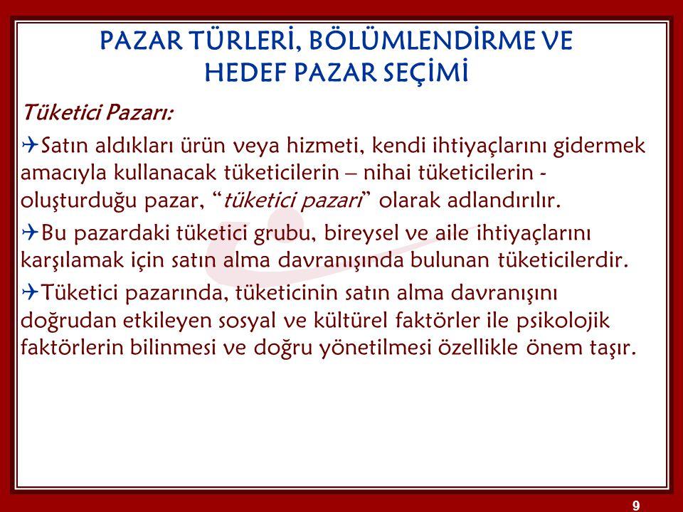 PAZAR TÜRLERİ, BÖLÜMLENDİRME VE HEDEF PAZAR SEÇİMİ