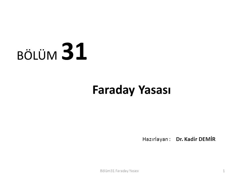 BÖLÜM 31 Faraday Yasası Hazırlayan : Dr. Kadir DEMİR Dr. Kadir DEMİR