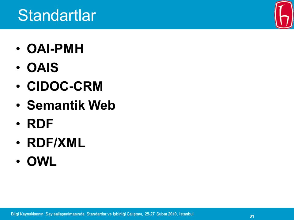Standartlar OAI-PMH OAIS CIDOC-CRM Semantik Web RDF RDF/XML OWL