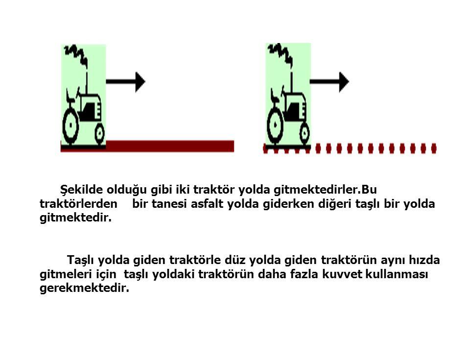 Şekilde olduğu gibi iki traktör yolda gitmektedirler