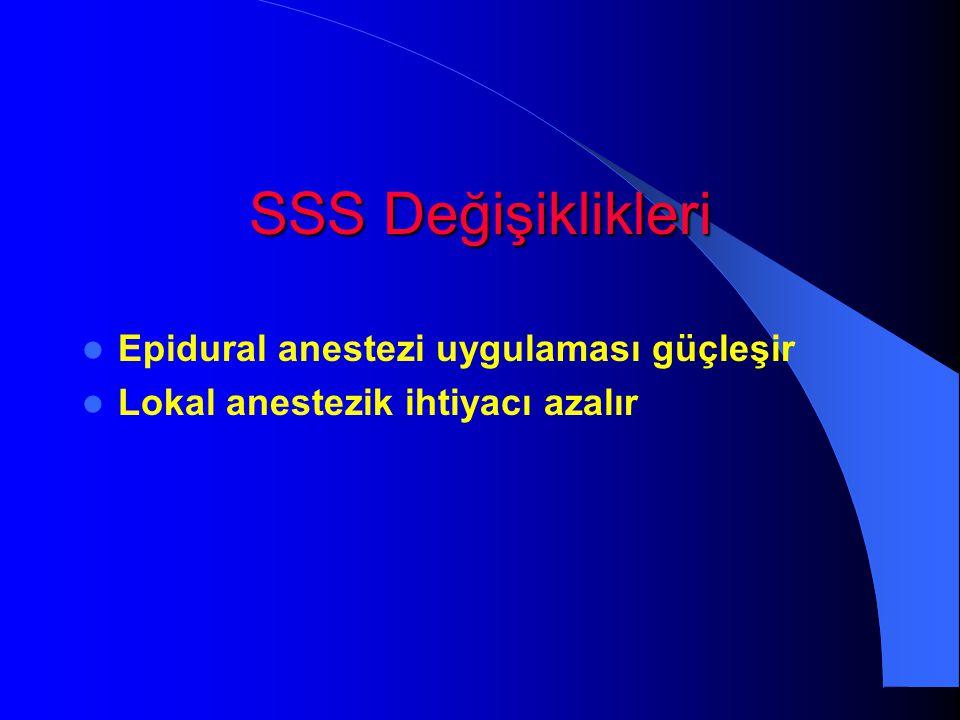 SSS Değişiklikleri Epidural anestezi uygulaması güçleşir