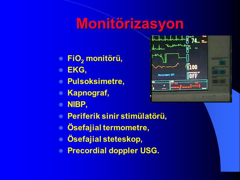 Monitörizasyon FiO2 monitörü, EKG, Pulsoksimetre, Kapnograf, NIBP,