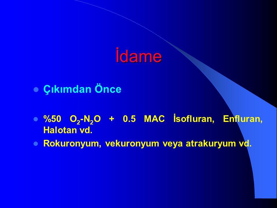İdame Çıkımdan Önce. %50 O2-N2O + 0.5 MAC İsofluran, Enfluran, Halotan vd.