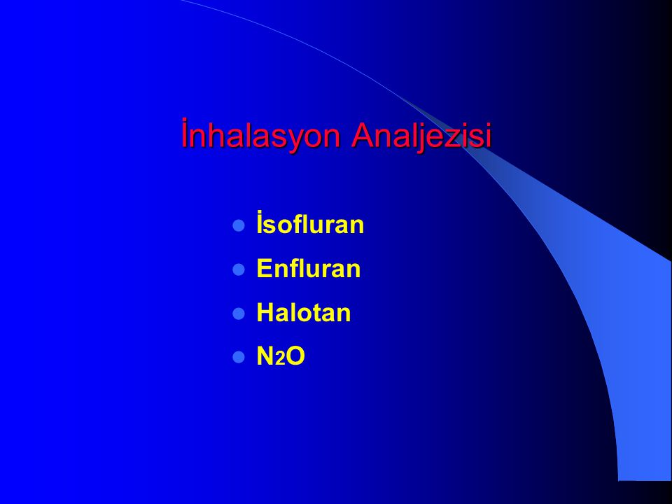 İnhalasyon Analjezisi