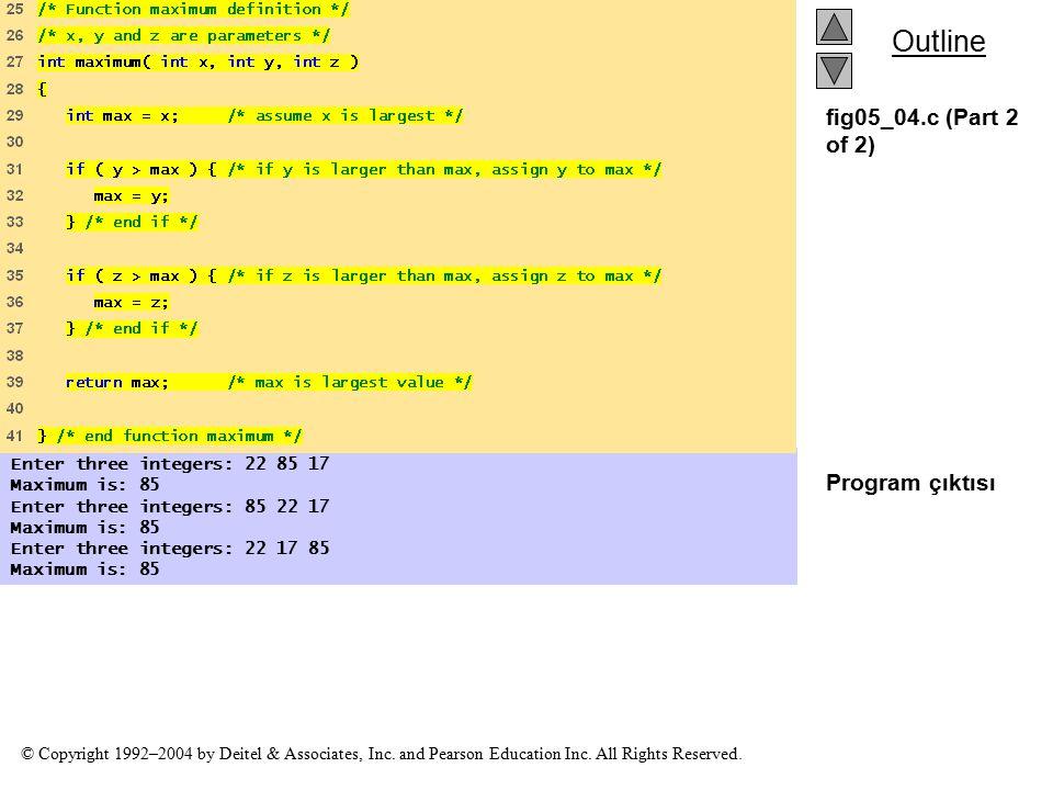 fig05_04.c (Part 2 of 2) Program çıktısı