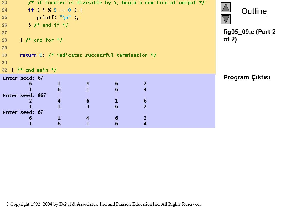 fig05_09.c (Part 2 of 2) Program Çıktısı