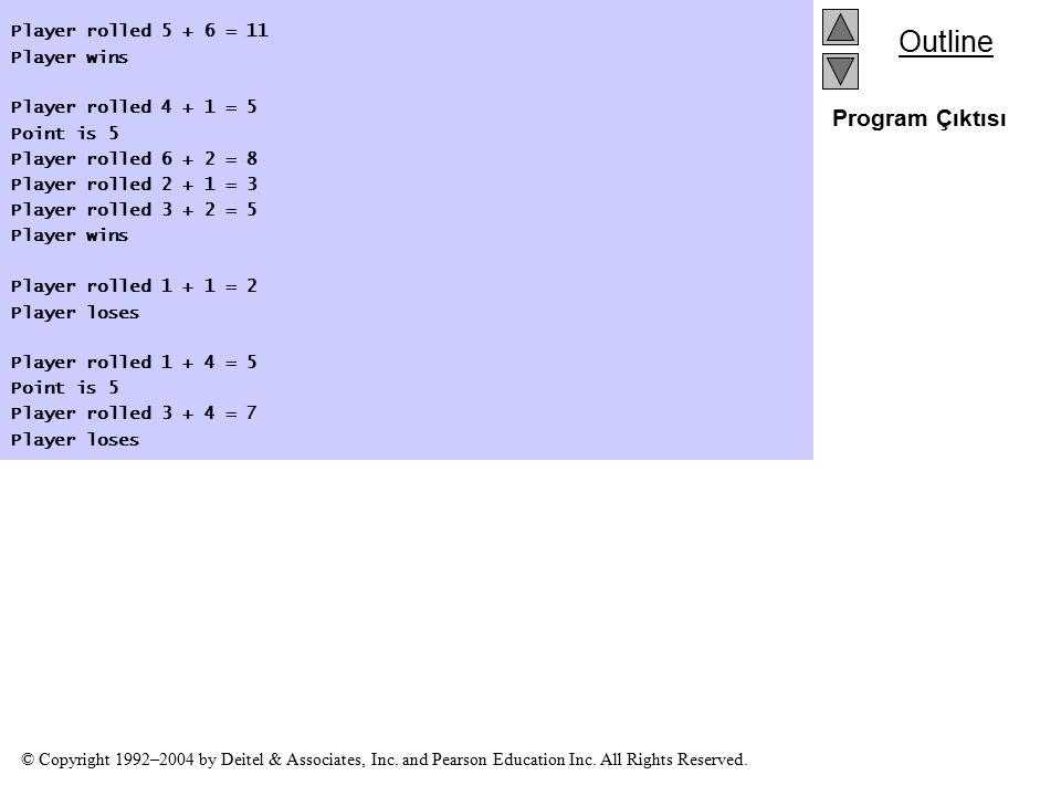 Program Çıktısı Player rolled 5 + 6 = 11 Player wins