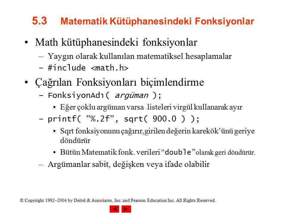 5.3 Matematik Kütüphanesindeki Fonksiyonlar