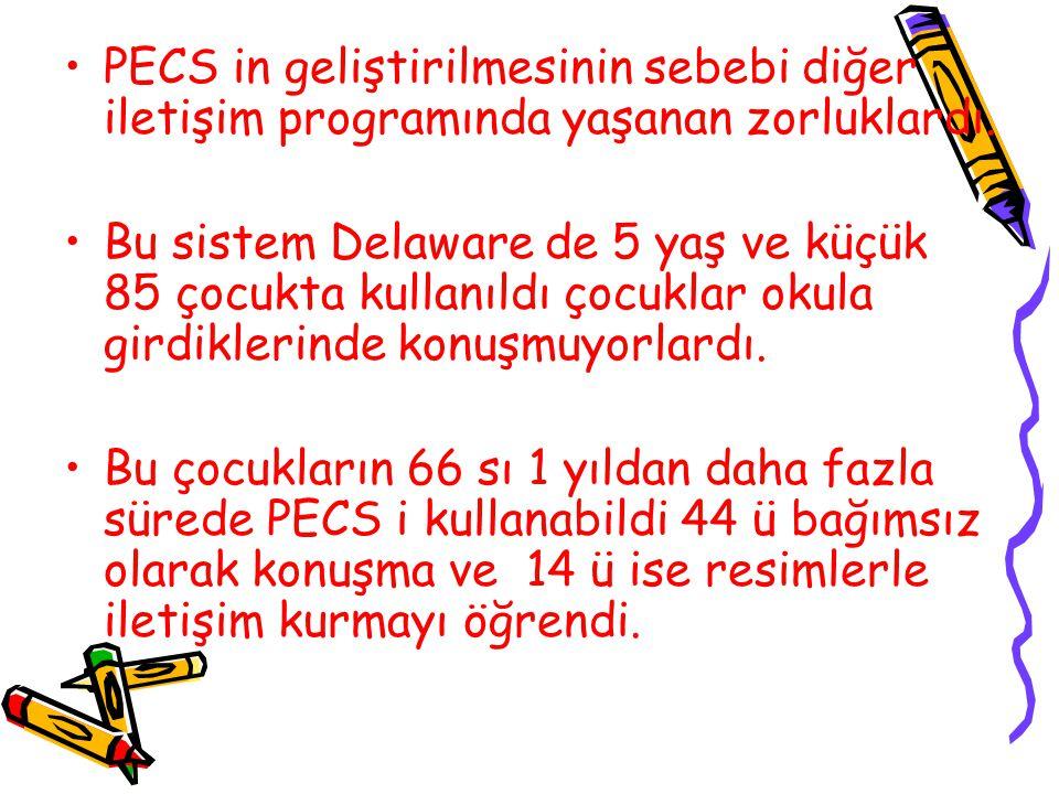 PECS in geliştirilmesinin sebebi diğer iletişim programında yaşanan zorluklardı.