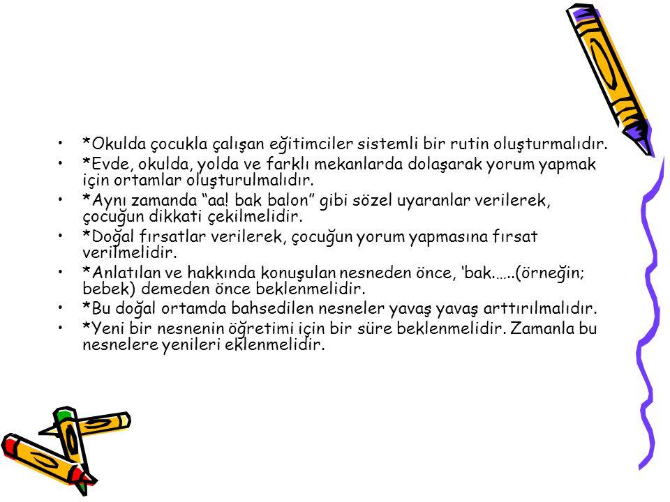 *Okulda çocukla çalışan eğitimciler sistemli bir rutin oluşturmalıdır.