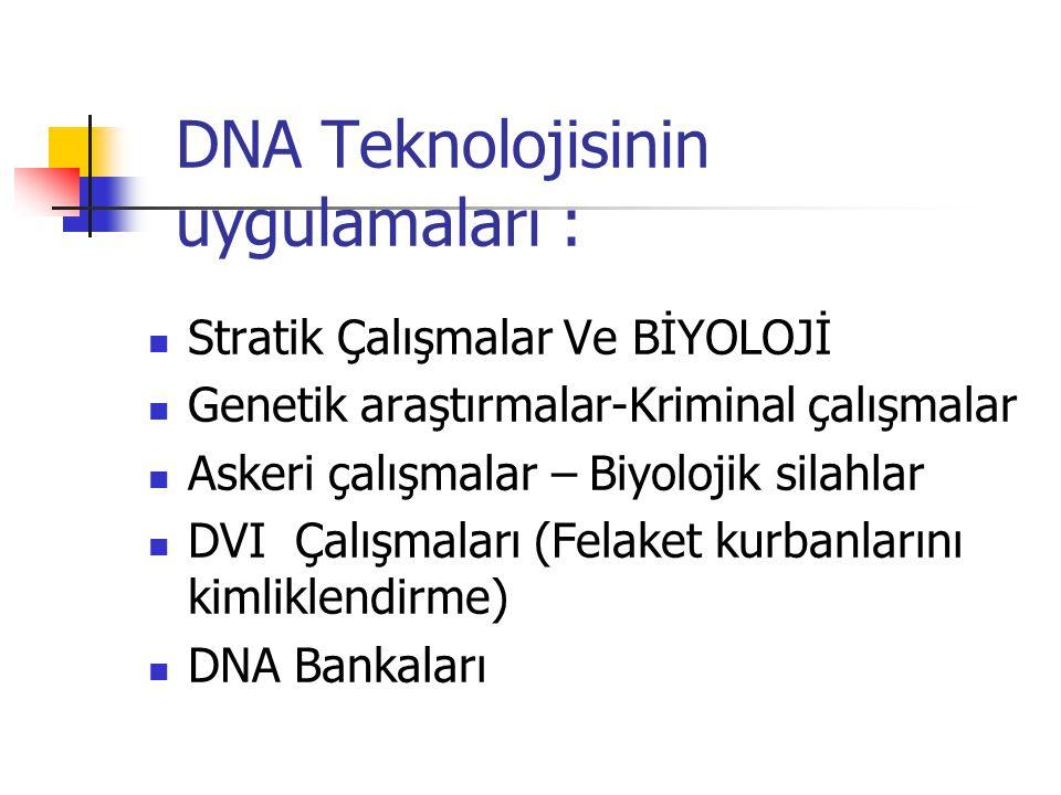 DNA Teknolojisinin uygulamaları :