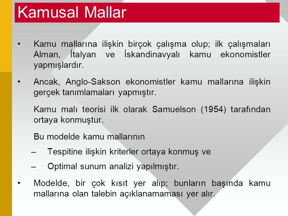 Kamusal Mallar Kamu mallarına ilişkin birçok çalışma olup; ilk çalışmaları Alman, İtalyan ve İskandinavyalı kamu ekonomistler yapmışlardır.