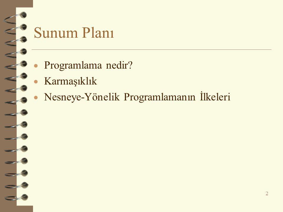 Sunum Planı Programlama nedir Karmaşıklık