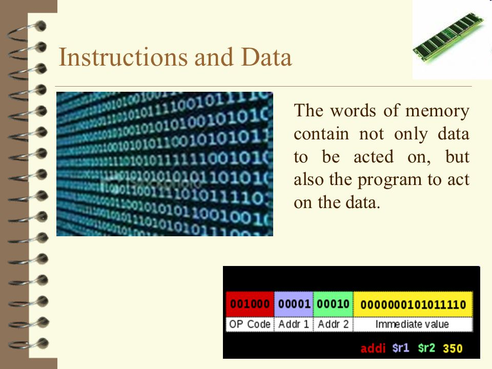 Instructions and Data The words of memory contain not only data to be acted on, but also the program to act on the data.