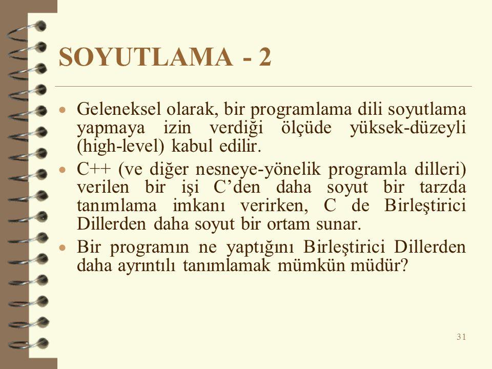SOYUTLAMA - 2 Geleneksel olarak, bir programlama dili soyutlama yapmaya izin verdiği ölçüde yüksek-düzeyli (high-level) kabul edilir.
