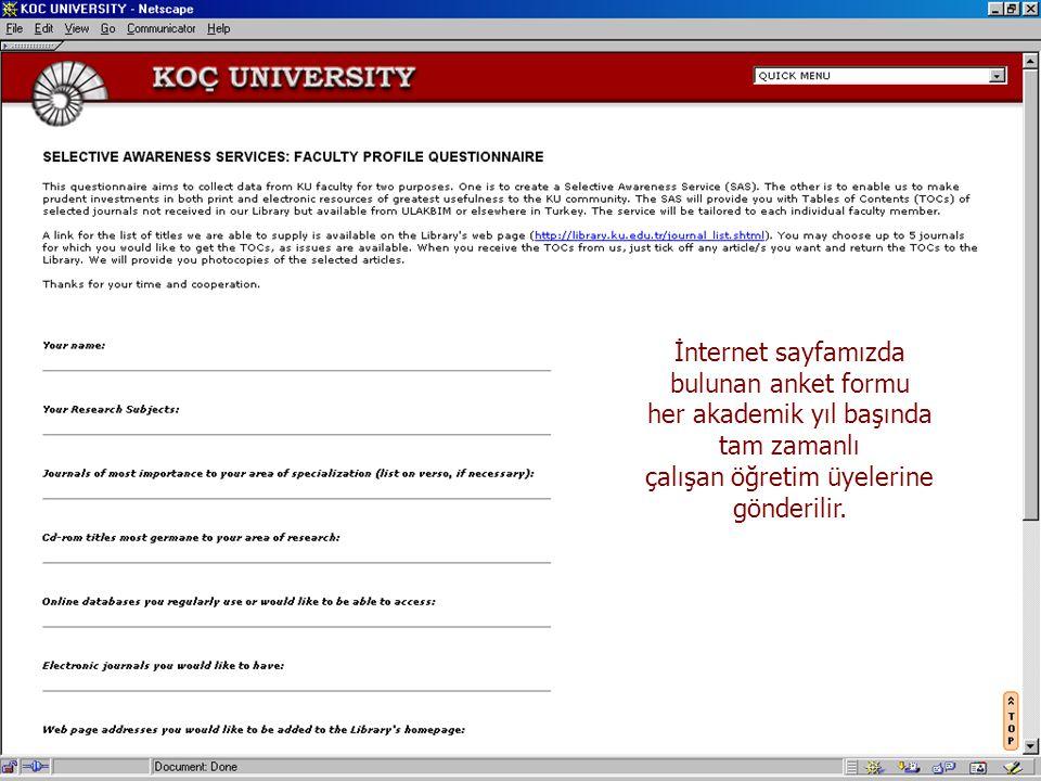 İnternet sayfamızda bulunan anket formu
