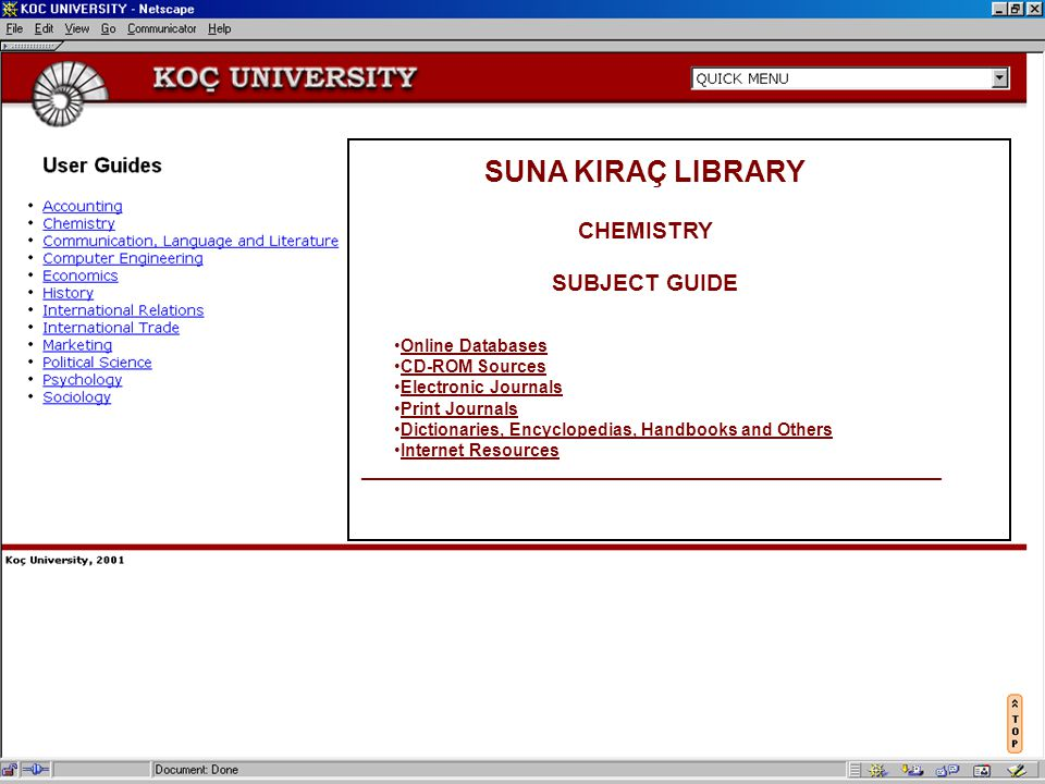 SUNA KIRAÇ LIBRARY KOÇ UNIVERSITY CHEMISTRY SUBJECT GUIDE