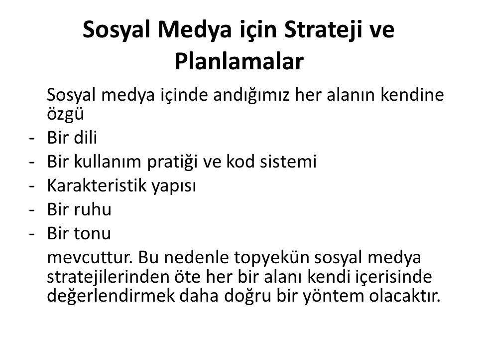 Sosyal Medya için Strateji ve Planlamalar