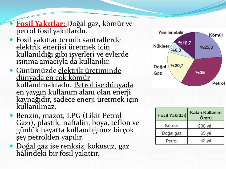 Fosil Yakıtlar: Doğal gaz, kömür ve petrol fosil yakıtlardır.