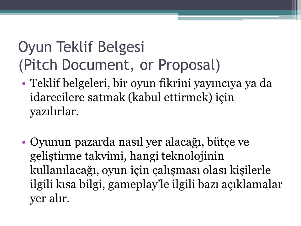 Oyun Teklif Belgesi (Pitch Document, or Proposal)