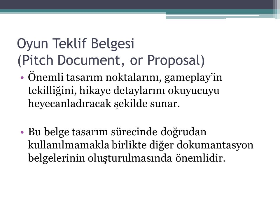 Oyun Teklif Belgesi (Pitch Document, or Proposal)