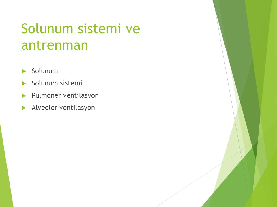 Solunum sistemi ve antrenman