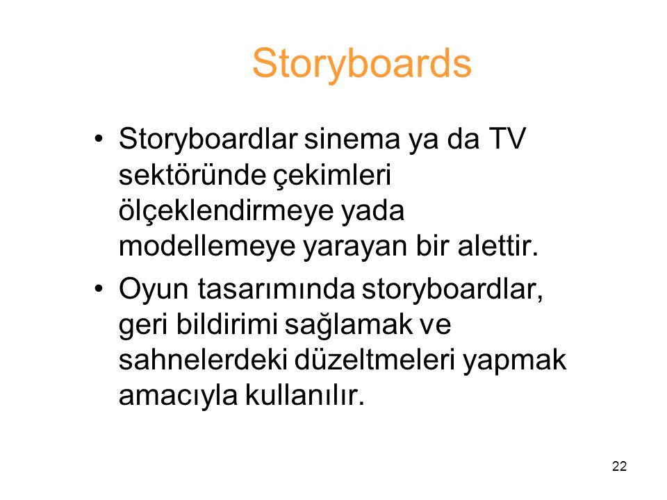Storyboards Storyboardlar sinema ya da TV sektöründe çekimleri ölçeklendirmeye yada modellemeye yarayan bir alettir.