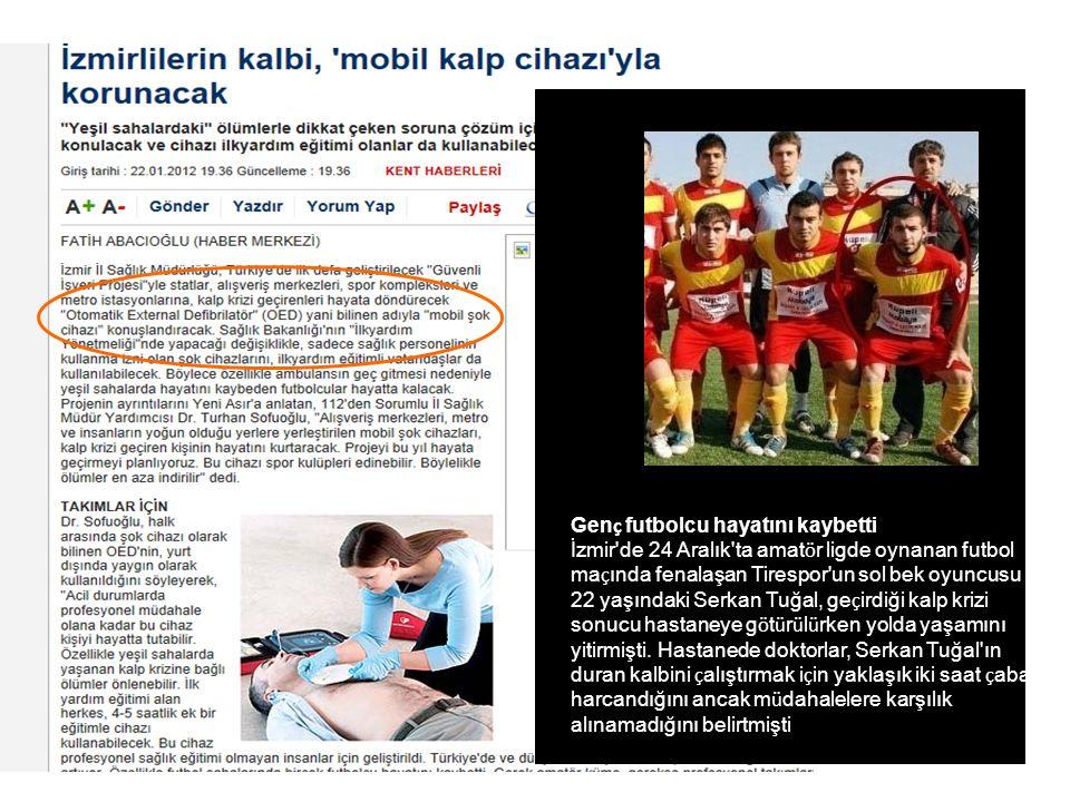 Genç futbolcu hayatını kaybetti İzmir de 24 Aralık ta amatör ligde oynanan futbol maçında fenalaşan Tirespor un sol bek oyuncusu 22 yaşındaki Serkan Tuğal, geçirdiği kalp krizi sonucu hastaneye götürülürken yolda yaşamını yitirmişti.
