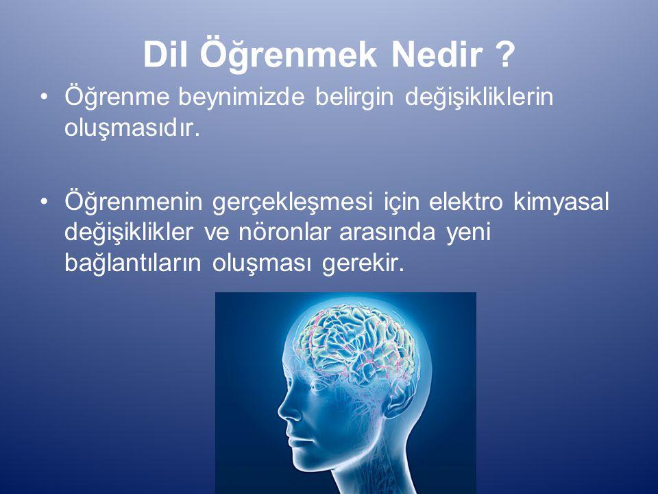 Dil Öğrenmek Nedir Öğrenme beynimizde belirgin değişikliklerin oluşmasıdır.