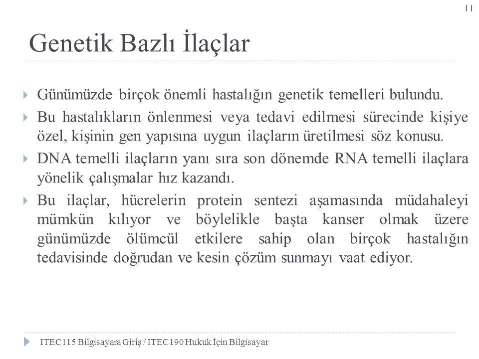 Genetik Bazlı İlaçlar Günümüzde birçok önemli hastalığın genetik temelleri bulundu.
