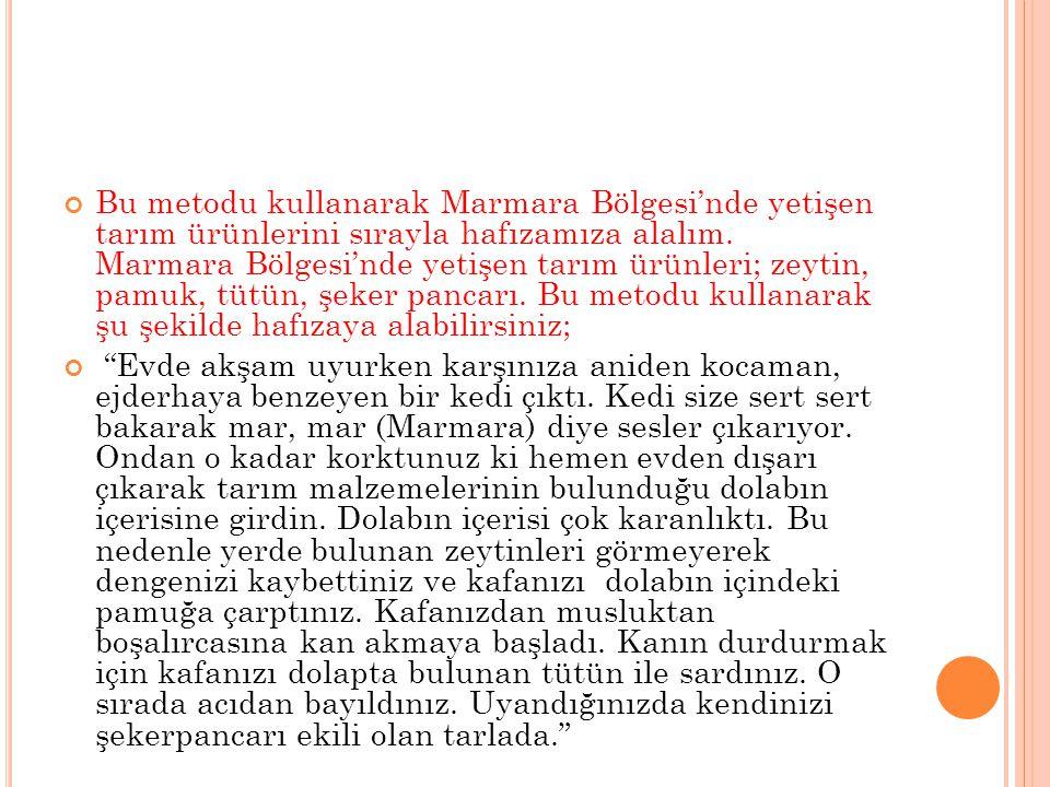 Bu metodu kullanarak Marmara Bölgesi'nde yetişen tarım ürünlerini sırayla hafızamıza alalım. Marmara Bölgesi'nde yetişen tarım ürünleri; zeytin, pamuk, tütün, şeker pancarı. Bu metodu kullanarak şu şekilde hafızaya alabilirsiniz;