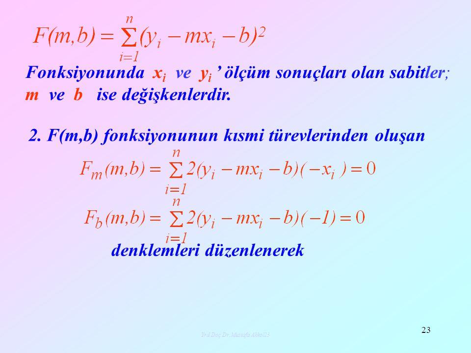 denklemleri düzenlenerek