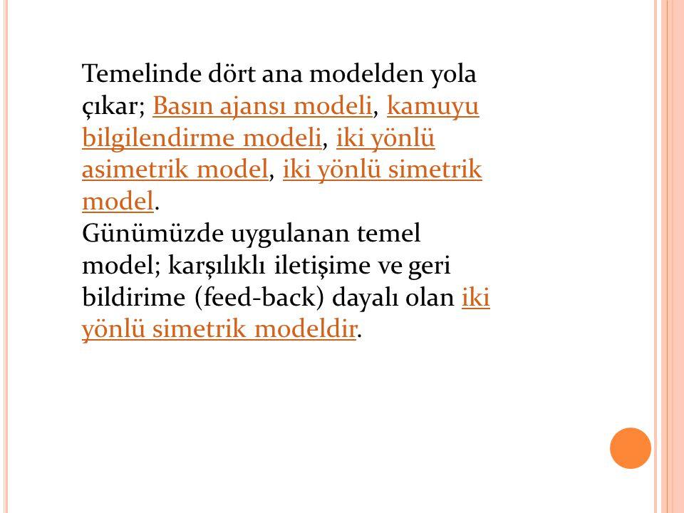Temelinde dört ana modelden yola çıkar; Basın ajansı modeli, kamuyu bilgilendirme modeli, iki yönlü asimetrik model, iki yönlü simetrik model.