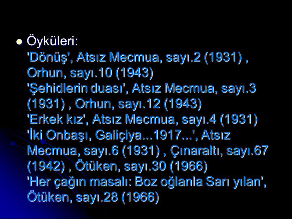 Öyküleri: Dönüş , Atsız Mecmua, sayı. 2 (1931) , Orhun, sayı